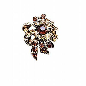 Artistically Designed Vintage Smoked Topaz & Colorado Crystals Brooch