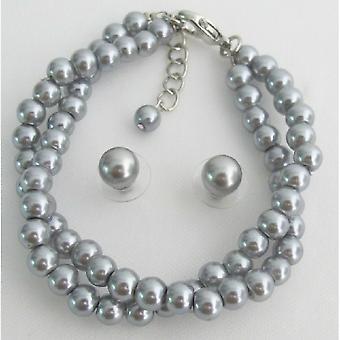 Hermosa doble cadena plata dama gris regalo joyería pulsera