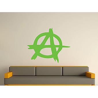 Anarquía símbolo arte etiqueta de la pared - verde manzana