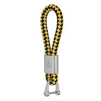Шкипер ключевых подвески кожаный черный/желтый 7291