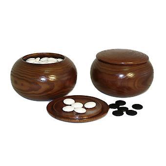 8mm Glass Bi-Convex Go Stones with Plastic Bowls