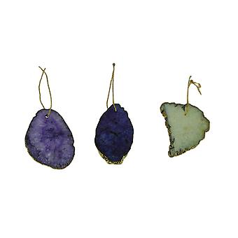 Agate Slice Suncatcher Hanging Ornaments Set of 3