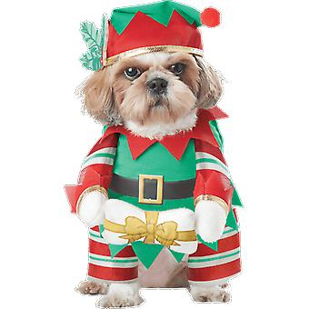 Pet Elf Pup Christmas Santa Animal Xmas Outfit Fancy Dress Costume