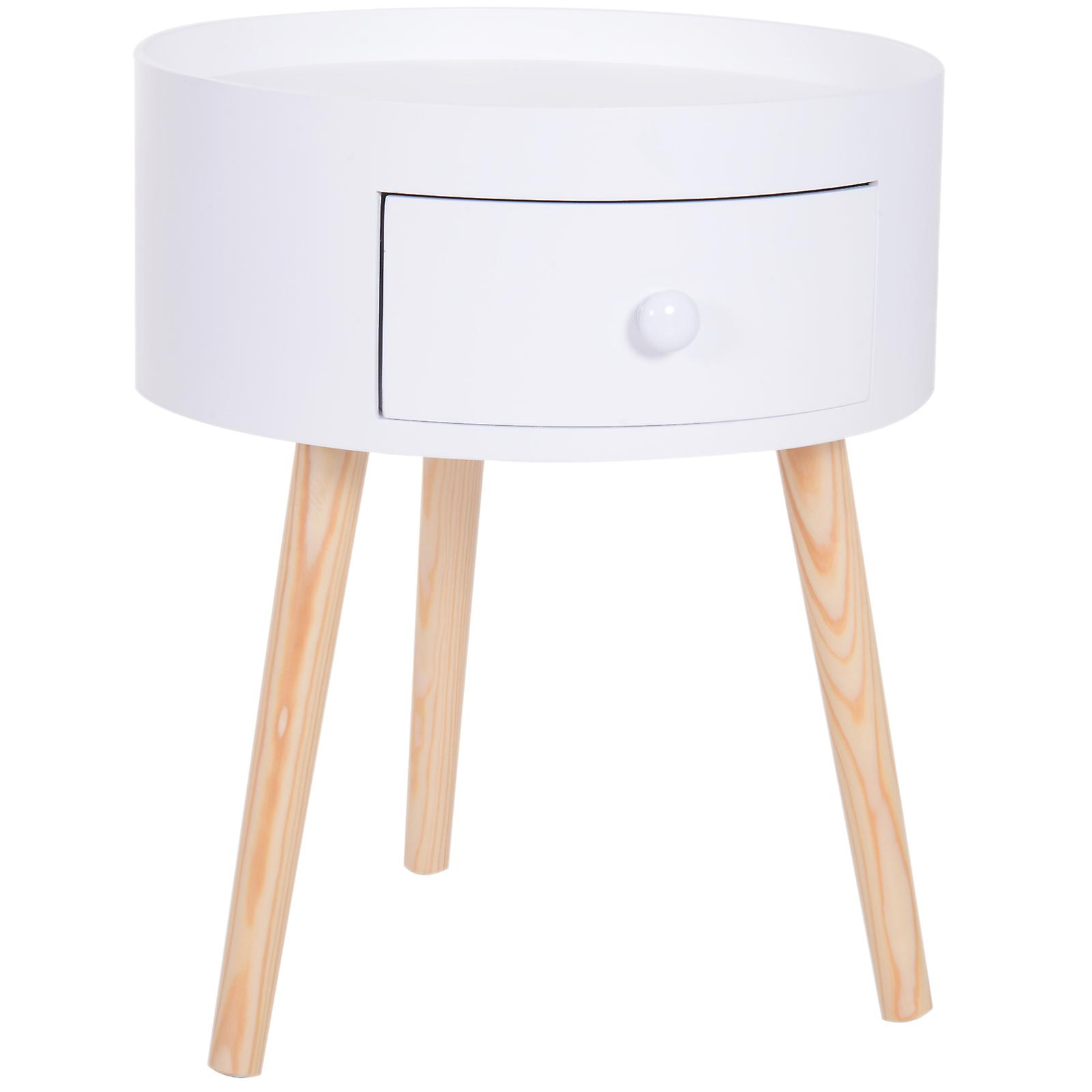 Picture of: Homcom Modern Round Coffee Table Wooden Side Table Living Room Storage Unit W Drawer Wood Leg White Fruugo Uk