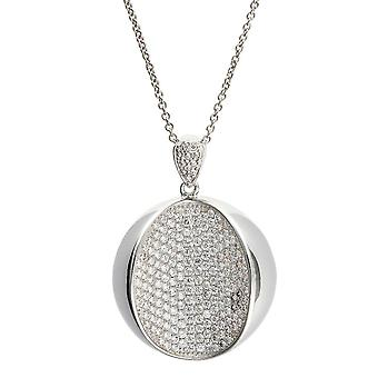 PENDANT WITH CHAIN OPEN BALL 925 SILVER ZICONIUM MICRO PAVE