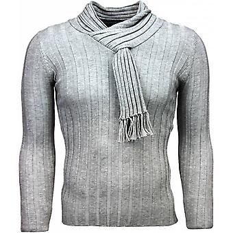 Casual Sweater-shawl collar Design stripes motif-light gray