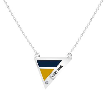 University Of Notre Dame Engraved Sterling Silver Diamond Geometric Necklace In Blue and Yellow
