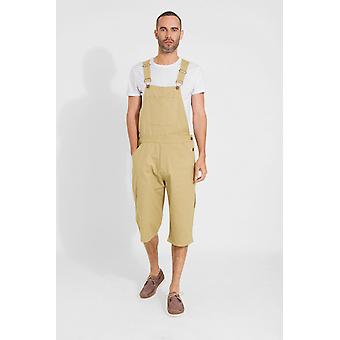 Christopher loose fit coloured cotton dungaree shorts - khaki