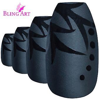 Faux ongles par bling art feuille noir mat ballerine cercueil acrylique faux conseils