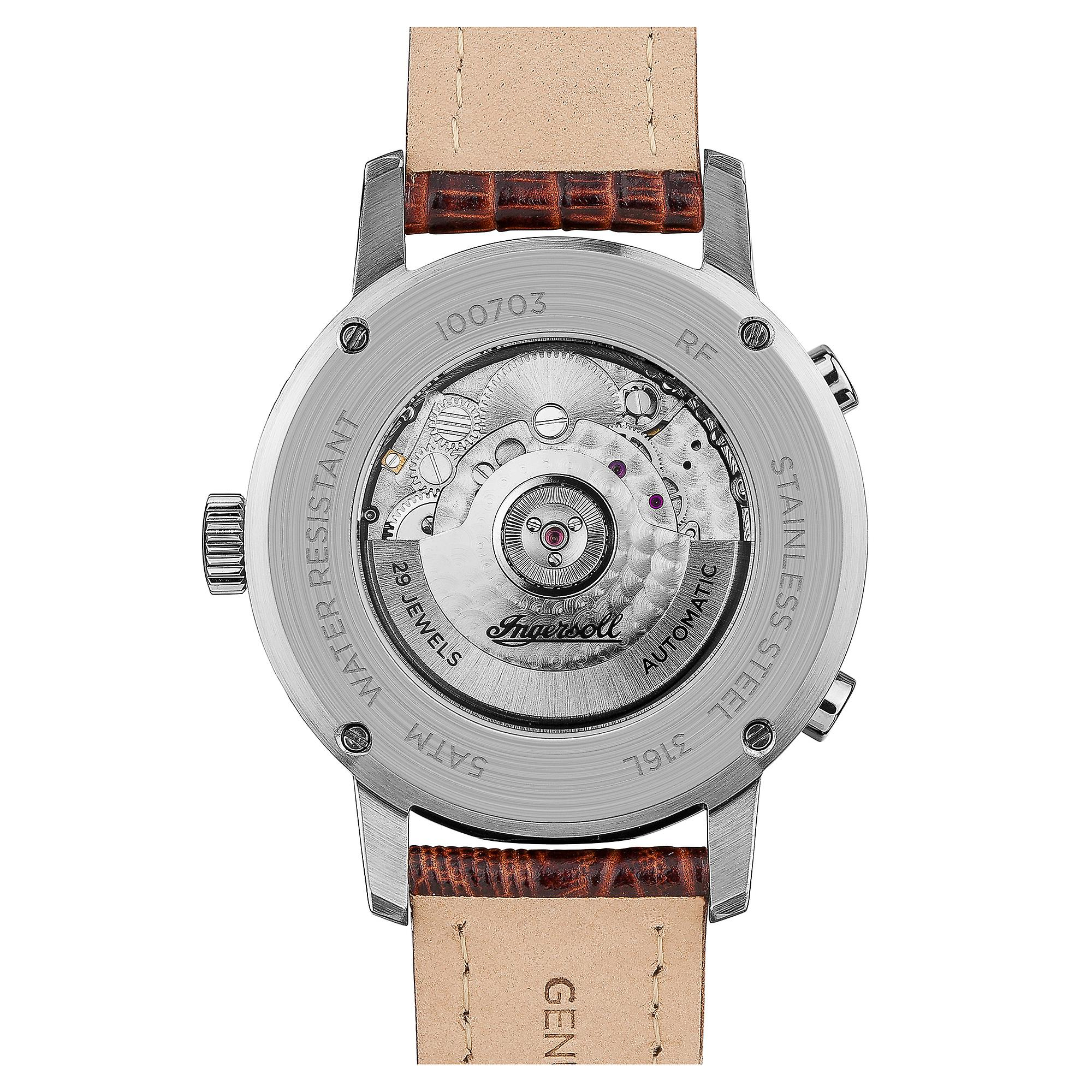 Ingersoll The Grafton Automatic Balance Wheel Blue Dial Brown Leather Strap Mens Watch I00703 42mm