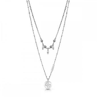 Guess Jewellery Guess Double Chain Crystal Silver Encrusted Charm Necklace UBN78018