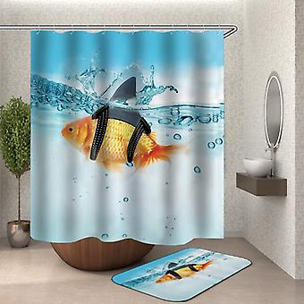 Funny Gold Shark Fish Shower Curtain