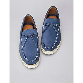 Amazon Brand - find. Men's Leather Espadrilles Blue), US 8
