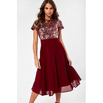 iClothing Rowan Sequin Top Dress In Wine-14