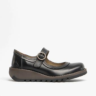 Fly London Siko K Girls Leather Buckle Mary Jane Shoes Black