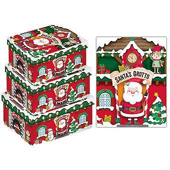 Eurowrap Christmas X-Long Oblong Santa Grotto Boxes (Pack of 3)