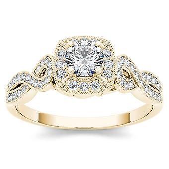 IGI certifié 14 k jaune or 0,50 Ct diamant Halo bague de fiançailles Vintage Set