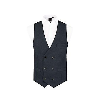 Dobell Mens Navy Donegal Tweed Waistcoat Slim Fit Wool Blend 6 Button Double Breasted