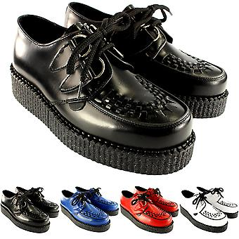 Womens Underground Creepers Wulfrun Leather Lace Up Goth Retro Punk Shoes