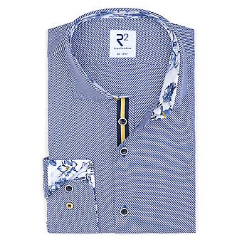 R2 Long Sleeved Wide Collar Shirt Blue Patterned