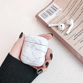 For Apple AirPods 1/2 Case White Marble Pattern Earphones Box Protective Cover