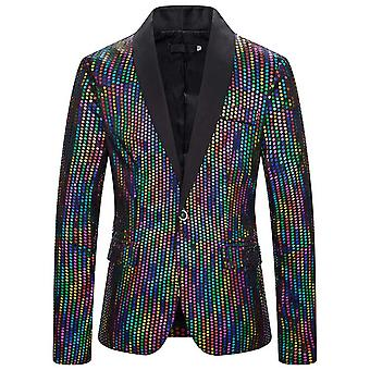 Allthemen Men-apos;s Sequined Blazer Shawl Lapel Costume pour Party Prom