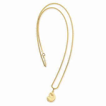 18in 14k Oro placcato solido incisa anello di primavera lucidato e satin madre in possesso bambino Medal Collana 18 Pollice
