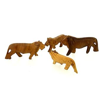 Vintage Trä Lion Figurine Familj - 4 Piece Set