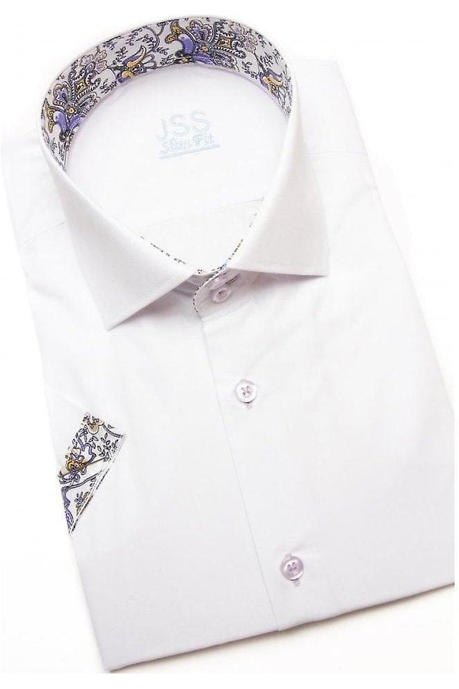 JSS Plain White Slim Fit Short Sleeve Shirt With Lilac Paisley Trim