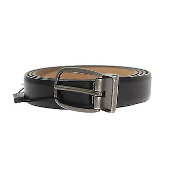 Dolce & Gabbana Black Plain Leather Gray Buckle Belt
