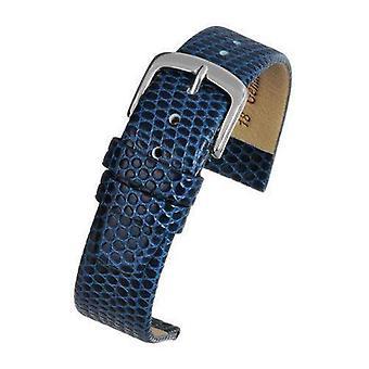 Alça de relógio de grãos lagarto azul com tamanho de fivela cromada de 12mm a 22mm