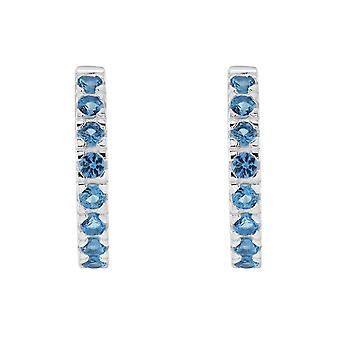 Dew Sterling Silver Huggie Blue Cubic Zirconia Stud Earrings 5427BLZ