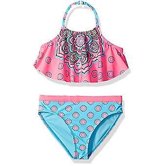 Angel Beach Big Girls' High Neck Bikini Swimsuit Set, Pink Tribal, Pink, Size 12