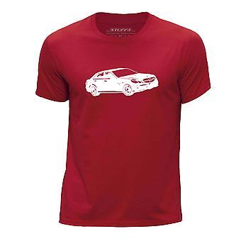 STUFF4 Boy's Round Neck T-Shirt/Stencil Car Art / E 63 W212 /Red