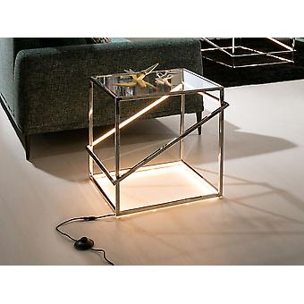 Schuller Moonlight - Coffee table with LED light integrated, made of polished stainless steel. Clear tempered glass top of 10 mm. LED stripe hidden by white polycarbonate diffuser. LED stripe 18W, 3000 K, 296 lm. G type plug. - 685201UK
