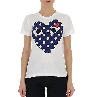 Comme Des Garçons Play T2330511 Women's White/blue Cotton T-shirt
