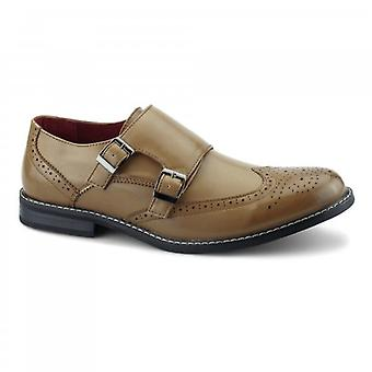 Giovanni Cristiano Mens Double Monkstrap Brogues Tan
