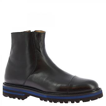 Leonardo Shoes Women's handmade ankle boots black calf leather zip blue sole