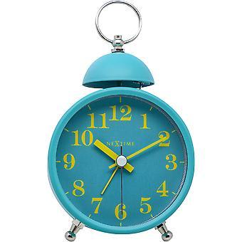 NeXtime - Wecker – ca. 16 cm - Metall – Türkis – Lauter Alarm- 'Single Bell'