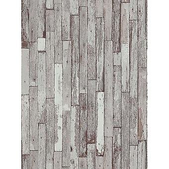 Erismann Distressed Wood Beam Pattern Faux Effect Textured White Beige Wallpaper