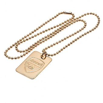 Arsenal FC Gold Plated Dog Tag And Chain