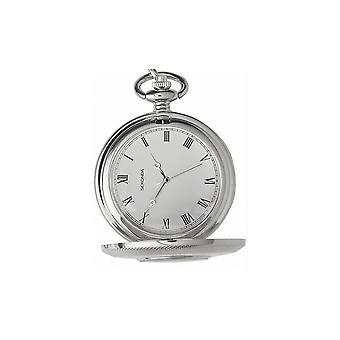 Sekonda Mens Ronde Witte Wijzerplaat Roestvrij Staal 1/2 Hunter Pocket Watch 3468