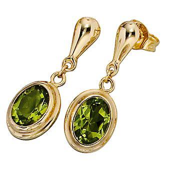 Korvakorut soikea 585 kulta keltainen kulta 2 peridote vihreä stud korvakorut