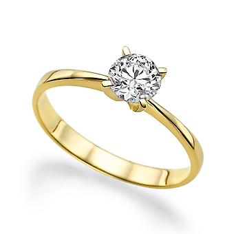 Moissanite Ring Forever One Colorless VVS  1.00 CT 6.50MM 14K Yellow Gold