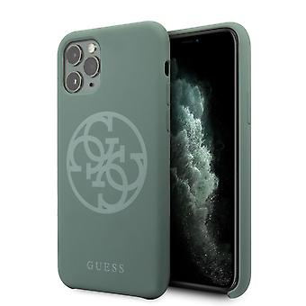 GUESS Premium Tone On Tone Backcover Hoesje iPhone 11 Pro - Midnight green