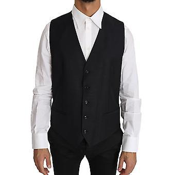 Dolce & Gabbana Gray Wool Silk Waistcoat Vest -- TSH2725104