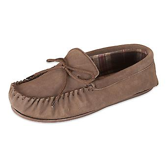 Nordvek Mens Sheepskin Suede Moccasin Slippers - Patterned Lining - Non-Slip Hard Sole # 424-100