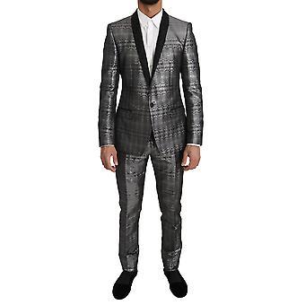 Dolce & Gabbana Zilvergrijs Glanzend GOUD 2 Piece Slim Suit -- BGKO519920
