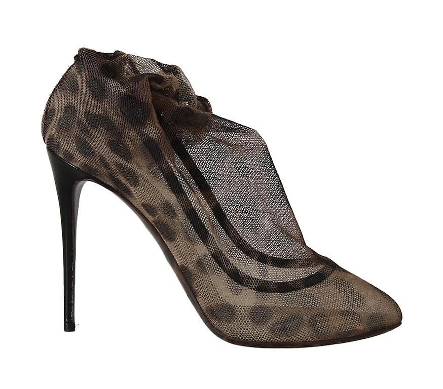 Dolce & Gabbana Brown Leopard Tulle Ankle Boots LA5185-2 oipFu