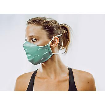 Non-Medical Face Mask | 8. Green Waves - S ( fits most young kids, teenagers, adults up to 165 cm )